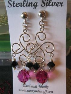 STERLING SILVER EARRINGS WITH SWAROVSKI BEADS.  FREE SHIPPING