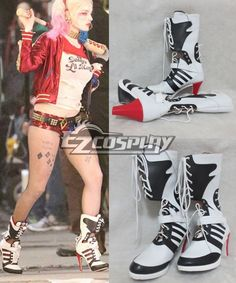 DC Comics New Batman Suicide Squad Harley Quinn Black Shoes Cosplay Boots Anime Cosplay Costumes, Game Costumes, Naruto Costumes, Halloween Costumes, Naruto Cosplay, Halloween 2016, Cosplay Makeup, Cosplay Wigs, Halloween Stuff