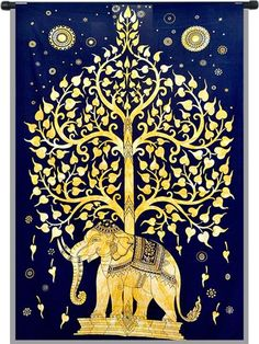 Buy Golden Elephant Tree Wall tapestry Bedspread at best price.Constructed from 100 % Cotton - Highest Quality & Pure Handmade Tapestries Imported from India..
