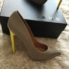 L.A.M.B. hydra grey pumps Only used once. Super cute L.A.M.B. Shoes Heels