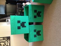 Creeper storage boxes made from Drona canvas boxes from Ikea. $5, a sharpie and 5 minutes=a very happy 8 year old!