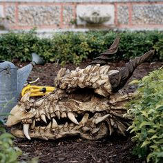 Design Toscano Stoker's Moors Dragon Skull Statue.  What a cool thing to have in the garden!