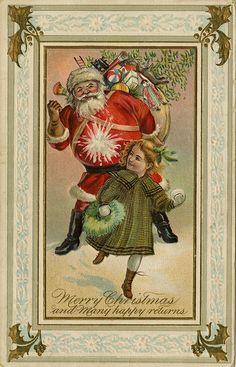 Santa gets a snowball ~ Victorian Christmas postcard