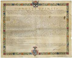 Diploma di Carlo V   17 ottobre 1536, Genova   L'imperatore Carlo V conferma Francesco Taverna nella carica di gran cancelliere dello Stato di Milano, elevando il borgo di Landriano a contea e concedendo a Francesco e ai suoi discendenti maschi il titolo di conte.
