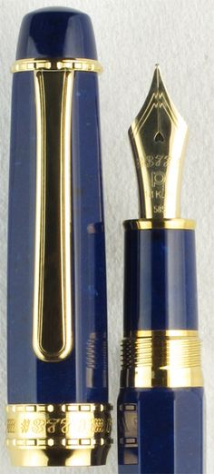 Platinum 3776 Series #50 Midnight Ocean Octagonal Celluloid with Gold Filled Trim. An eight-sided gold trim variation on the standard rounded rhodium trim #50 Midnight Ocean, the #50 Midnight Ocean Octagonal Celluloid fountain pen provides the value, styling, and superb writing characteristics users have come to expect from Platinum. Our price $800.