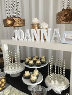 Sweet sixteen Candy bar ~cupcakes ~pops ~gold white and black theme