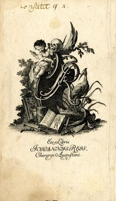 A putto holding a human skull seated on a shield, which is decorated with 'JR' initials; heron in the foreground to right; bookplate for Johannes Reis. 1756  Stipple and etching; printed in brown