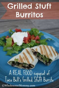 Grilled Stuft Burritos - a REAL FOOD copycat of Taco Bell's Grilled Stuft Burritos - A Simple Clean Eating Recipe for w Weeknight Dinner! From WholesomeMommy.com