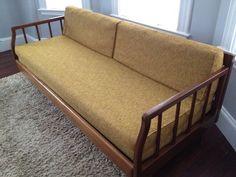Wood Frame Mid Century Sofa Blue Grey Cushions Search