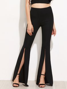 Long Zipper Fly. Boot Cut Decorated with Split. Loose fit. Mid Waist. Plain design. Trend of Spring-2018, Fall-2018. Designed in Black. Fabric has some stretch.