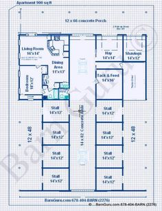 Horse Barns With Living Quarters | Stall Horse Barn With One Bedroom Living  Quarters Plans