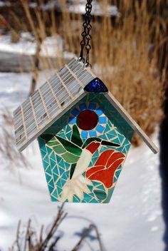 Bird House Stained Glass Mosaic Hummingbird by NatureUnderGlass, $85.00
