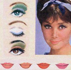 makeup - eyes and lips - Blue Mascara, Green Eyeliner, 1960s Makeup, Vintage Makeup, Makeup Blog, Makeup Inspo, White Eye Makeup, Makeup Eyes, Pale Lips