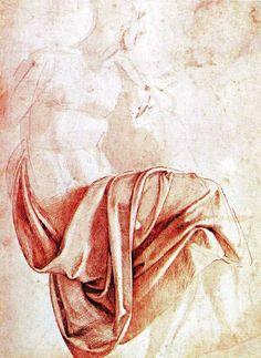 Michelangelo, study of drapery from http://www.italian-renaissance-art.com/Michelangelo-Drawings.html