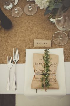 wedding menu printed on brown bag - rustic burlap table setting