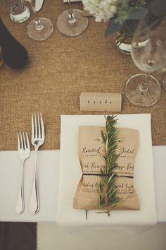 wedding menu printed on brown bag