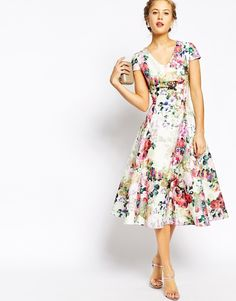Image 4 of True Decadence Fit and Flare Full Skater Dress In Allover Floral