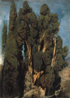 Oswald achenbach Cypresses in the Park at the Villa d-Este