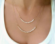 Double Strand Pearl Necklace Simple Pearl by GlassPalaceArts