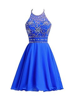 Belle House Women's Short Beaded Prom Dress Halter Homeco...