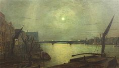 John Atkinson Grimshaw (1836-1893)   oil on canvas   Southwark Bridge from Blackfriars by moonlight