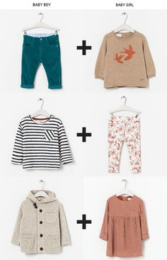 mixing baby boy and baby girl clothes - reminder to think outside the box for cute baby/child clothes, there are a lot more examples if you click through
