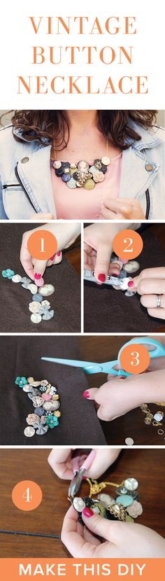 DIY Button Necklace Project | Vintage Fashion