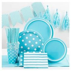 """Get a seashore vibe with the Dot Dinner Plates 9"""" Light Blue 10ct - Spritz. The blue sea and air colors are joined by frisky white polka dots that will make your party extra fun. A light coating makes them leak- and cut-resistant. And they're easy to dispose of in the recycling."""