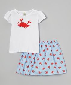 This Annapolis Brand White Crab Tee & Light Blue Skirt - Toddler & Girls by Annapolis Brand is perfect! #zulilyfinds