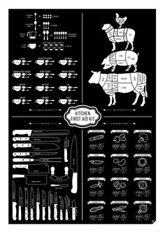 The Kitchen First Aid Kit features Meat Cuts Kitchen Equivalents (conversions) Types of Knives and Vegetable Cooking Times. This infographic poster Kitchen Poster, Sugar Icing, First Kitchen, Kitchen Prints, First Aid Kit, Healthy Cooking, Scandinavian Design, Cooking Time, Design Art