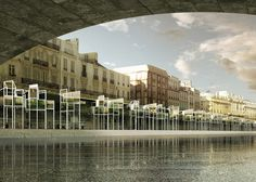 A string of capsule homes on stilts proposed for the Seine in Paris.