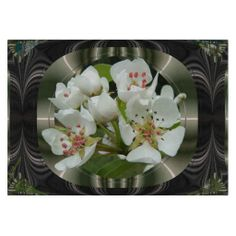 Pear Flowers ~ Cutting Board ~ White Pear blossoms popping out of multiple digital frames of rippled chrome and stainless steel.