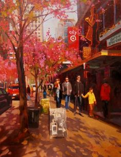 Spring in Seattle Seattle, cityscape by Robin Weiss, painting by artist Robin Weiss