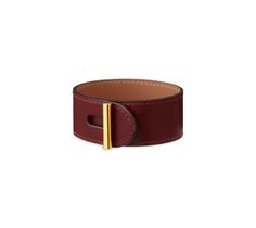 "Hydra Hermes leather bracelet (size S)  Hermes red tadelakt calfskin  Gold plated hardware, 6.7"" circumference."