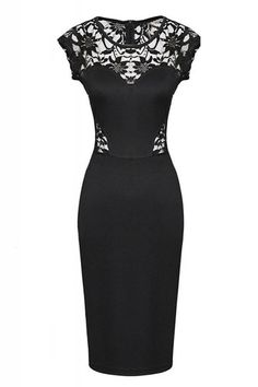 So Pretty! LOVE this Dress! The Back is Amazing! Sexy Black Lace Splicing Hollow-out Bodycon Dress