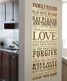 Take a look at this Cream & Brown Family Rules Wall Canvas by Lot 26 Studio on #zulily today!