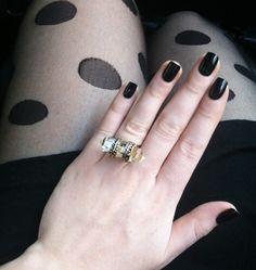 Love the ring and the polish.Zoya Nail Polish in Raven. Black Nail Polish, Zoya Nail Polish, Black Nails, Polka Dot Tights, Practical Gifts, Unusual Gifts, Gorgeous Nails, Nail Arts, Manicure And Pedicure