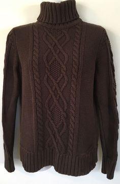 Eddie Bauer Brown Chunky Cable Knit Sweater size M Cotton Blend Warm Turtleneck #EddieBauer #TurtleneckMock
