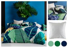 Be inspired to add a touch of the jungle into your bedroom with the Miconia Duvet Cover Set by Kas. This stunning duvet cover set features an oversized jungle inspired print on textured cotton slub. The reverse features a neutral geometric pattern while the piping in navy blue completes the look.