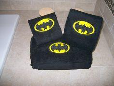 Batman Logo Personalized 3 piece Bath towel hand by VDonlinestore