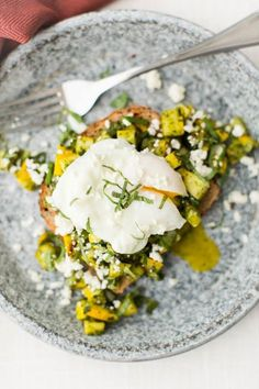 Pesto Summer Squash Bruschetta with Poached Eggs | http://naturallyella.com