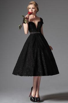Чёрное Классическое Коктейльное Платье с Кружевами (04145200)