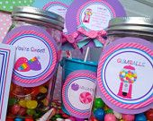 Candy Land Birthday Party Jar Tags, Personalized and Printed Candy Shoppe Jar Tags