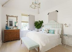 coastal bedroom with turquoise accents