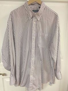 Land's End Purple & White Striped Button Up Dress Shirt Size Regular 18 1/2 - 34 #LandsEnd