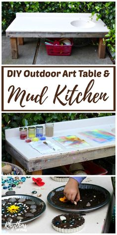 DIY outdoor art table and mud pie kitchen for backyard play and homeschool projects in the spring and summer. We use our backyard mud kitchen for projects of all kinds including arts, crafts, mud pies, gardening, STEAM projects, nature study, sensory activities, and even Montessori practical life activities!