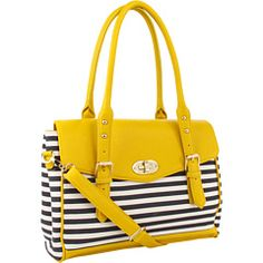 Nautical bag, ah my two favorites for this spring and summer in one bag: blue & white stripes with yellow! Yes!