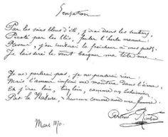 "Arthur Rimbaud ""Sensation"" manuscrit"