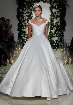 Silk Off The Shoulder Ballgown with Ruching Embellishment   Anne Barge: Berkeley   http://knot.ly/6498BtvP2