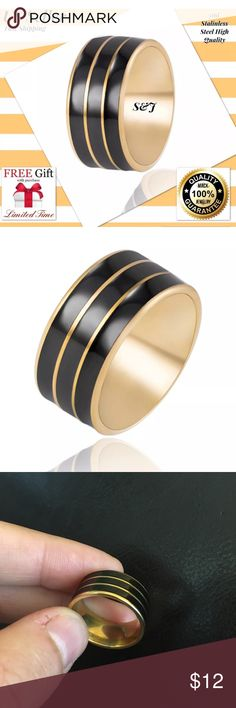 Fashion Stainless Steel Ring Love titanium 8 Fashion Gold/Black Stainless Steel Ring  Love Band High QualityTitanium  Description  100% Brand New Style:Band Material:Stainless Steel Color: Gold/Black  Size: 7 Quantity: 1Pcs + Nano Microfiber Cleaning Cloth + Gift Bag (Limited Time) We are the new seller but best seller. Now we have a limited time big promotion.  You can use or give chrismas gift your mom, dad, friend, sister... When you buy this item Nano technolog Microfiber claening Cloth…